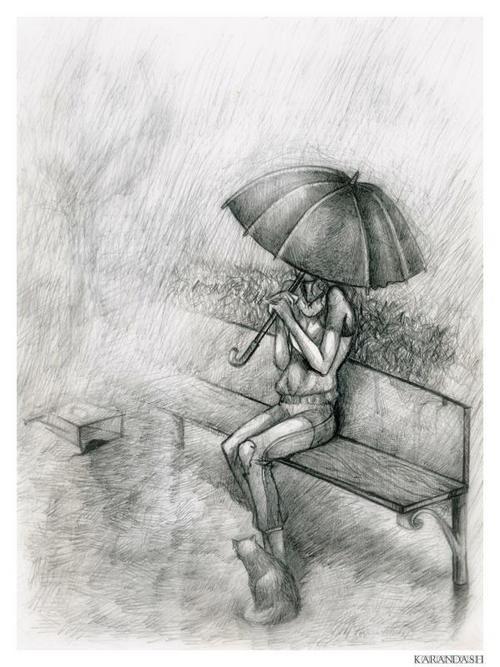 Картинки под дождем карандашом