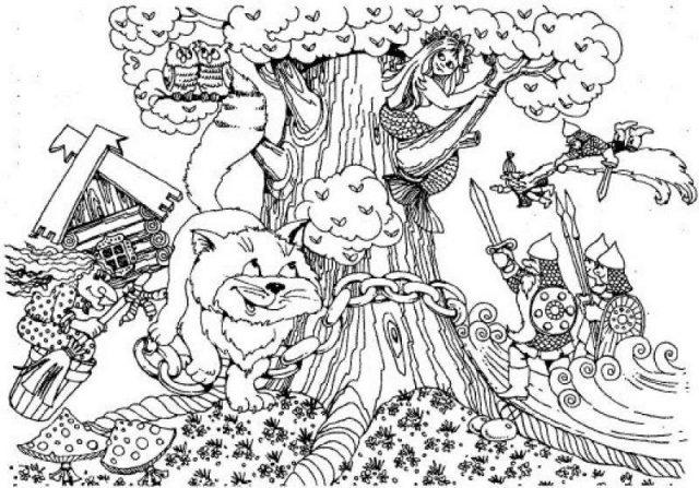 """Рисунки """"У лукоморья дуб зеленый"""" карандашом (16 фото ..."""