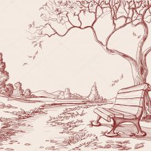 Рисунки карандашом осенняя дорога (15 фото)