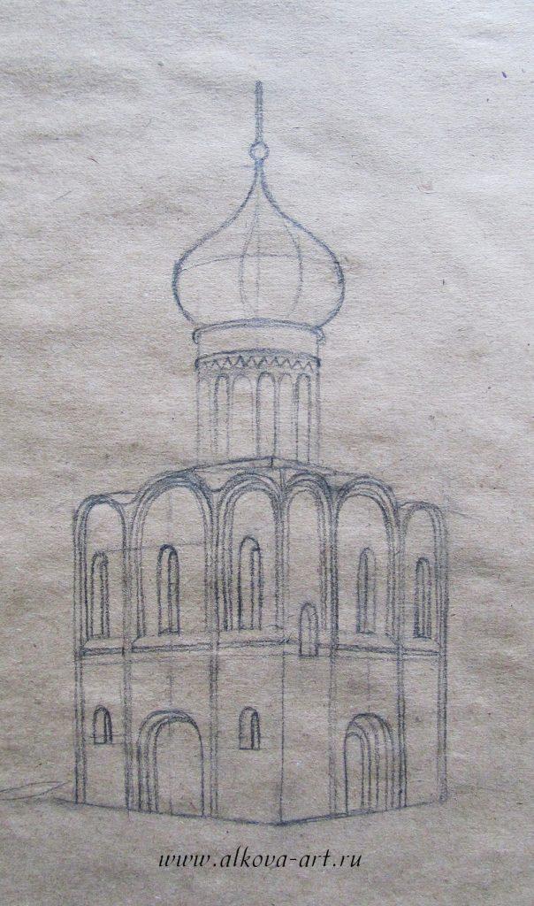 Рисунок церкви простой