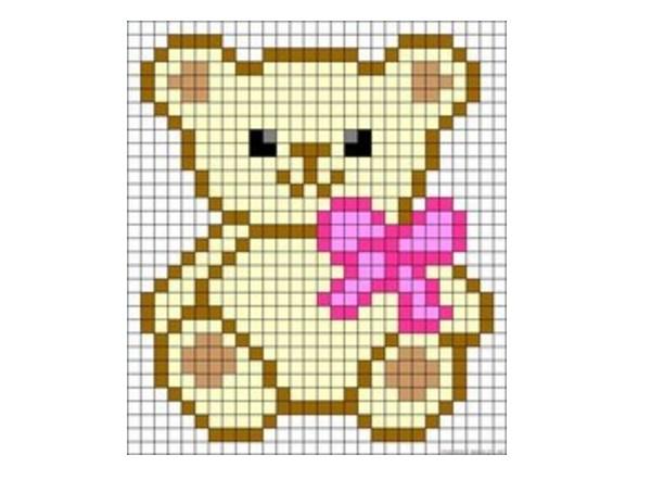 китайский картинки по клеточкам медвежонок маленький собственного источника