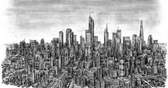 Рисунки карандашом городской пейзаж (24 фото)