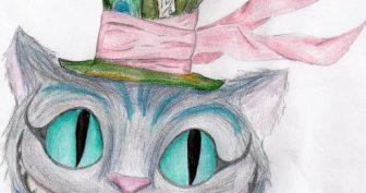 Рисунки карандашом Чеширского кота для срисовки (19 фото)