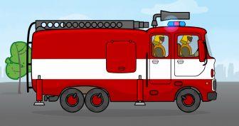 Рисунки для детей карандашом пожарная машина (22 фото)