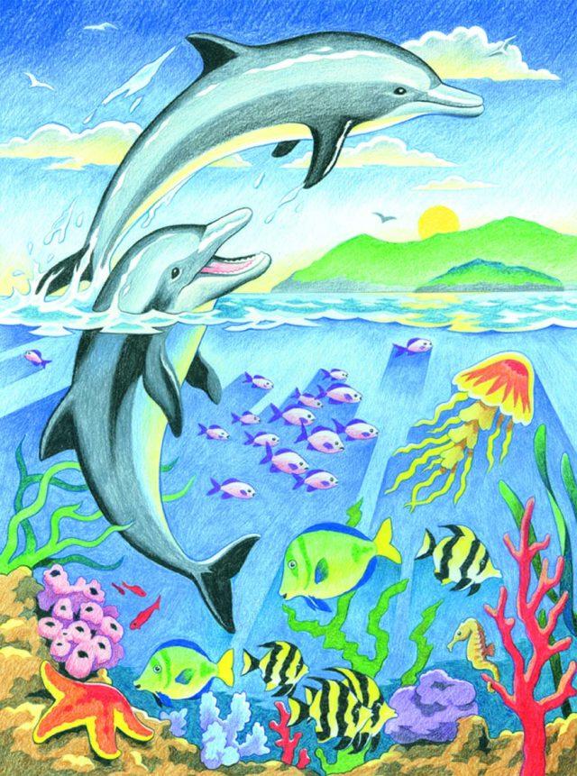его стирать рисунок с дельфином нарисовать поехали