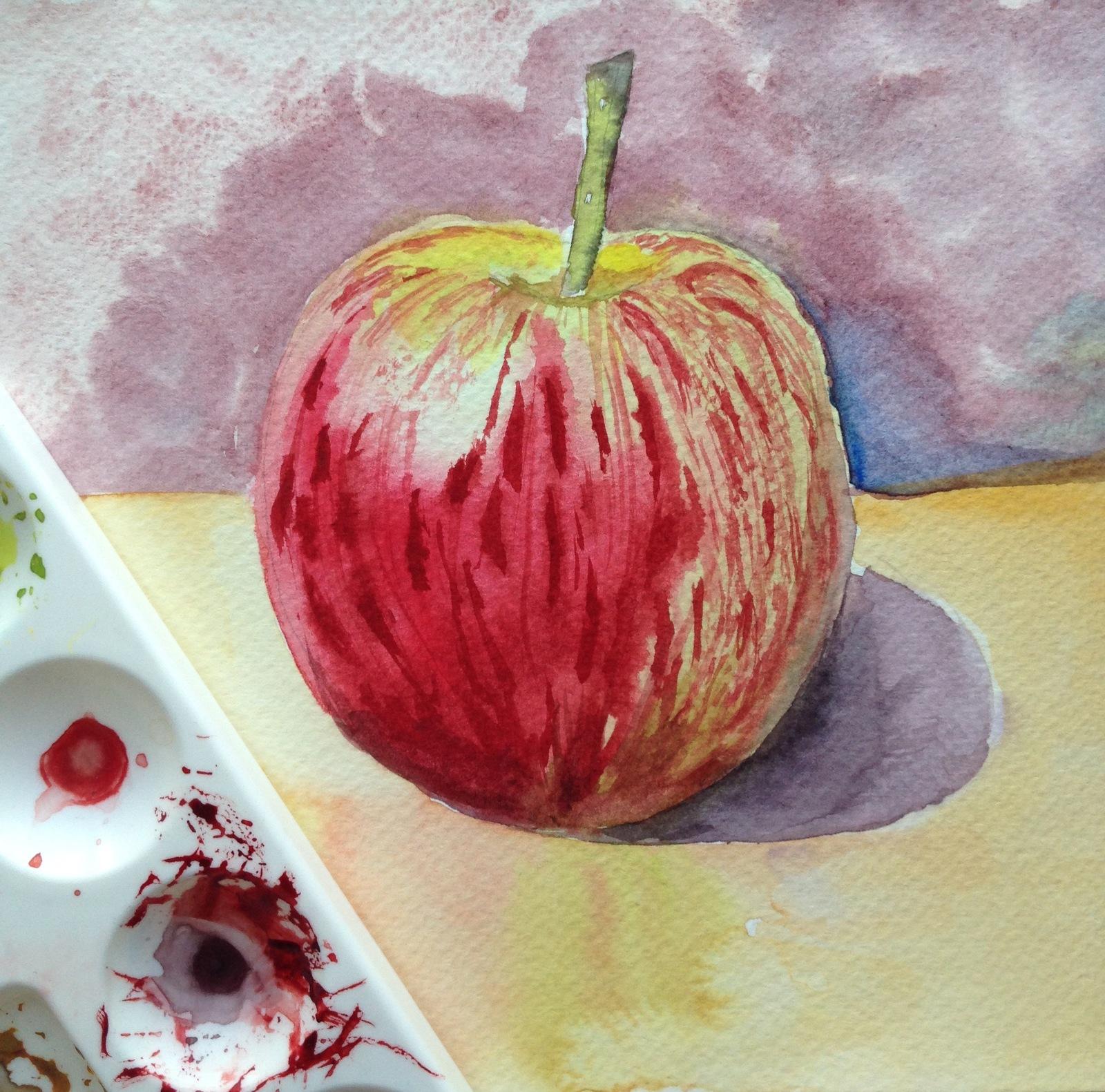 Картинки яблоко красками