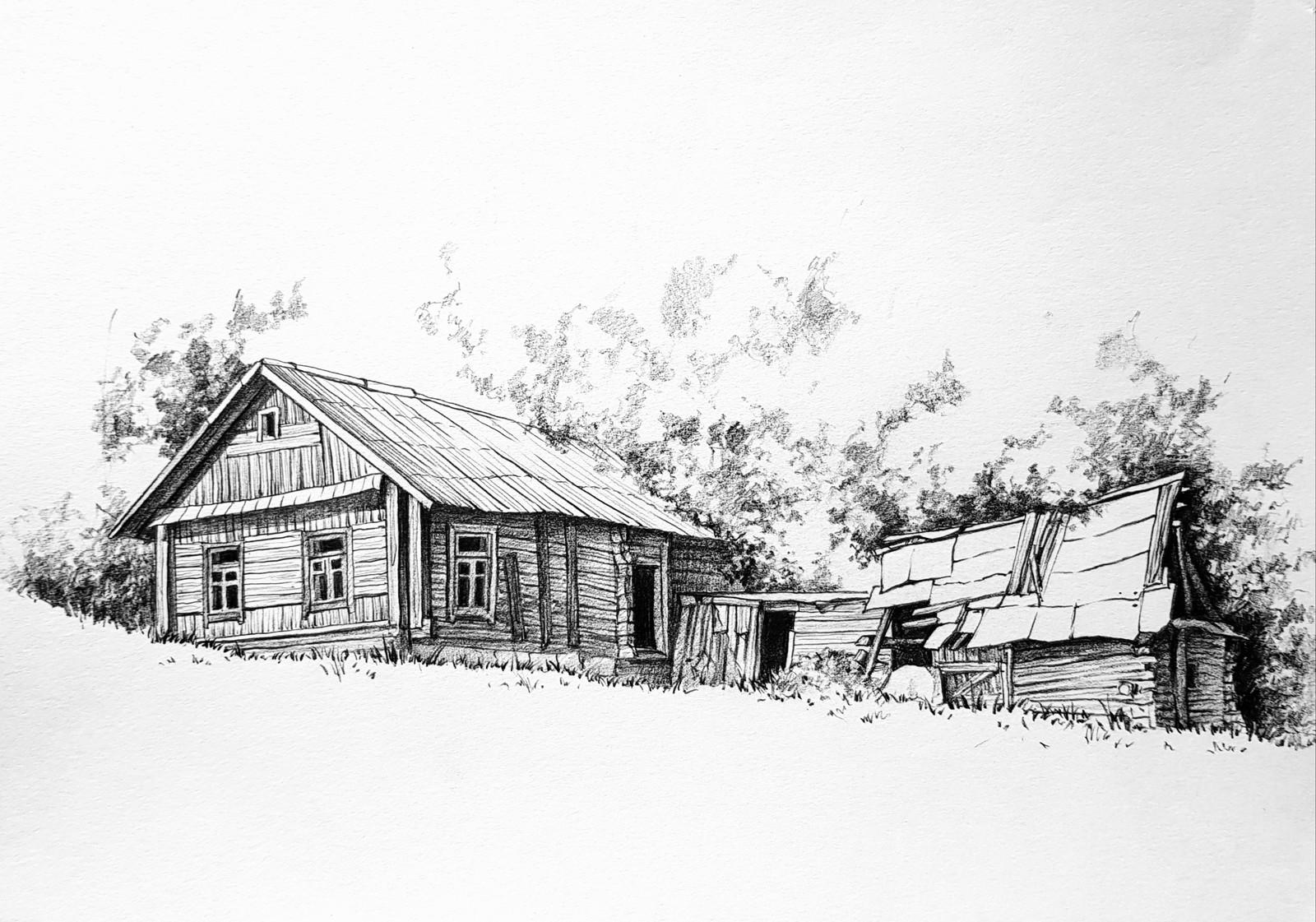 деревенский дом без гвоздей рисунок фундамент возведен