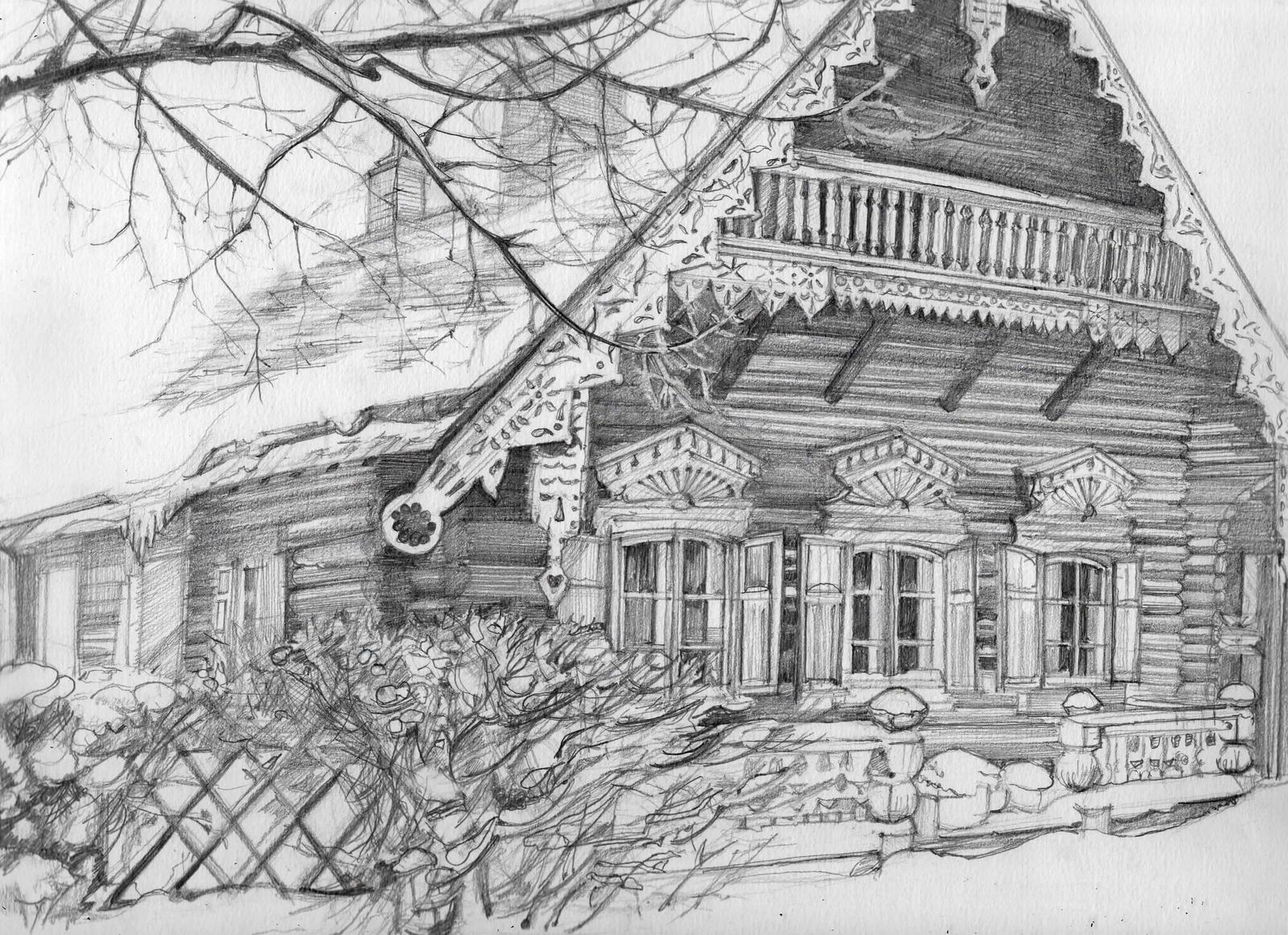 рисунок деревенский домик с узорами прославилась благодаря своей