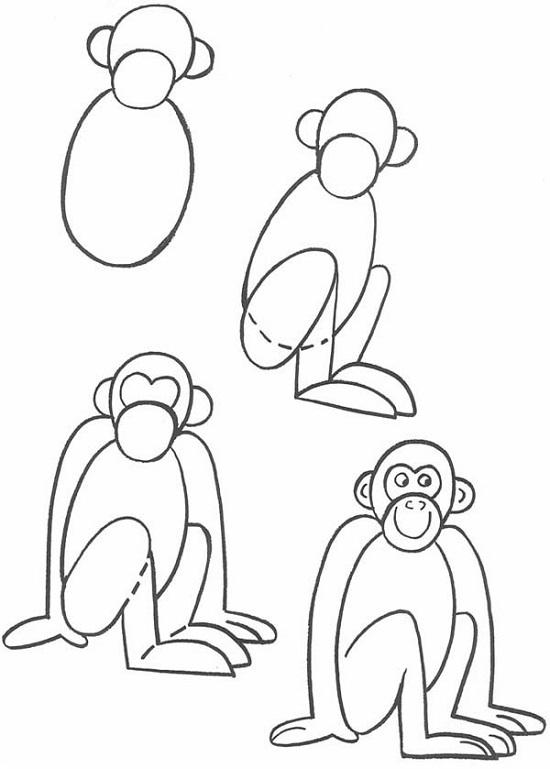 картинки обезьянку как нарисовать первое слово