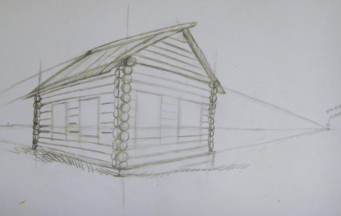 Избы рисунки карандашом