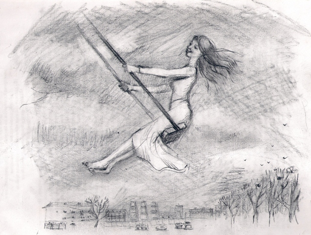 необычного рисунки качели карандашом что оригиналы