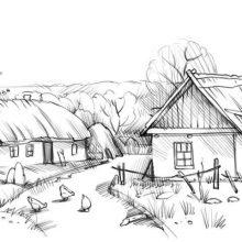 Рисунки карандашом деревенский дом (35 фото)