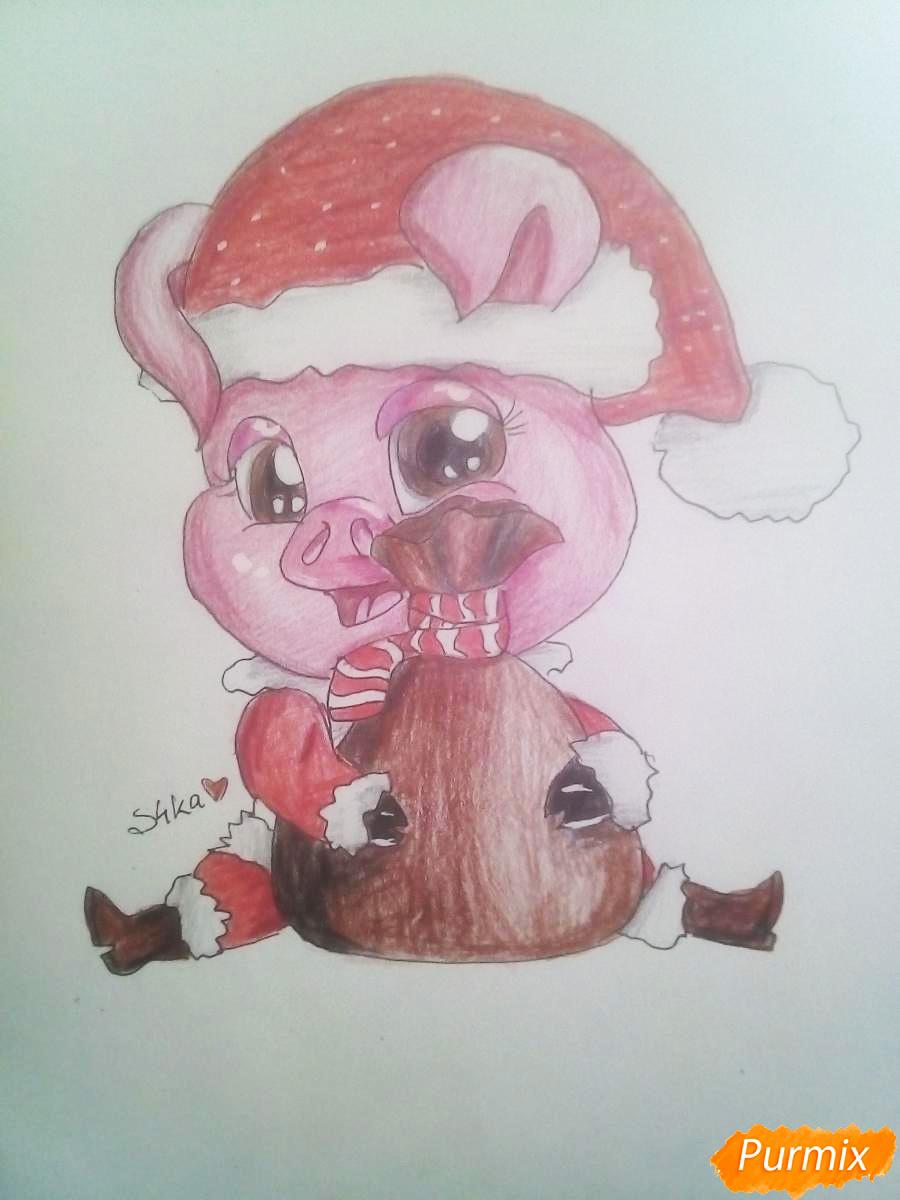 Месяца, картинки свинки новогодние срисовать