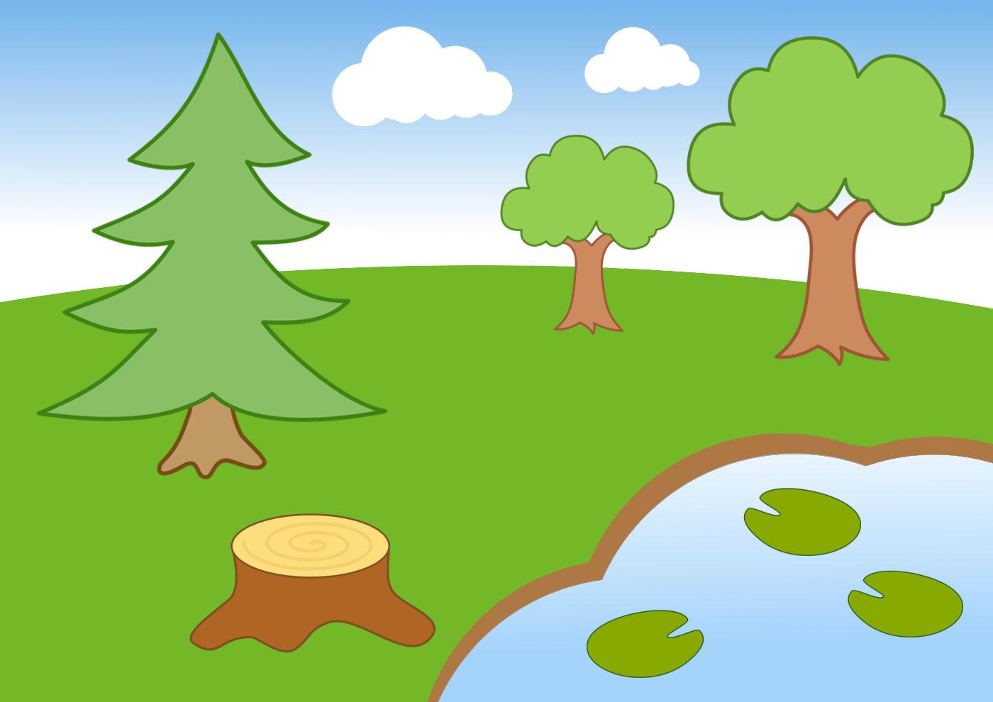 Картинка лес детский рисунок