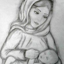 Рисунок карандашом мама и дочь (27 фото)