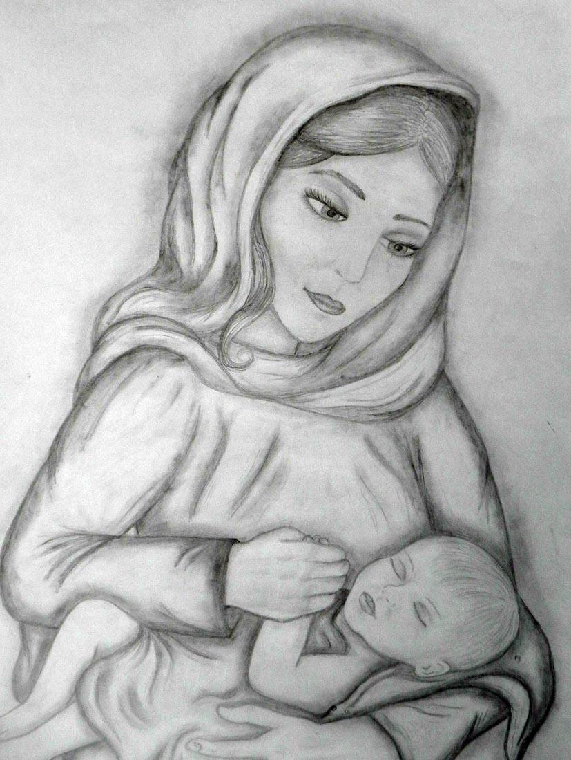 Картинки на тему день матери нарисованные карандашом