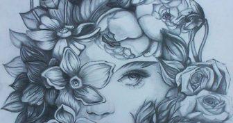 Рисунки карандашом девушка с цветами (21 фото)