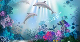 Рисунки дельфинов в море для срисовки (24 фото)