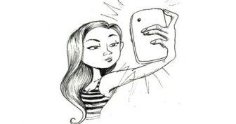 Рисунки для срисовки девушек с айфоном (19 фото)