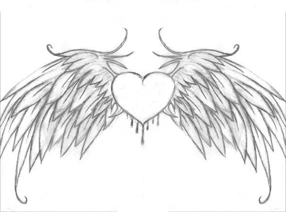 Картинки карандашом сердечки ангелы