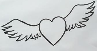 Рисунки карандашом сердце с крыльями (38 фото)