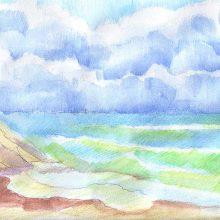 Рисунки моря цветными карандашами (31 фото)
