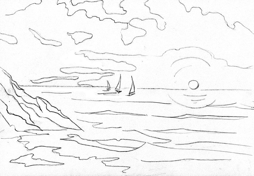 Рисунок о море карандашом