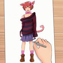 Рисунки карандашом для срисовки аниме девушки кошки (34 фото)