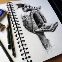 Прикольные рисунки карандашом в тетради (27 фото)