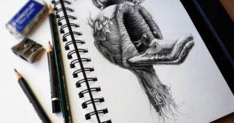Прикольные рисунки карандашом в тетради (57 фото)