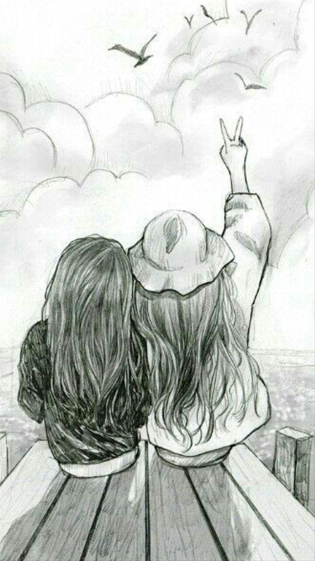 Картинки простым карандашом про дружбу