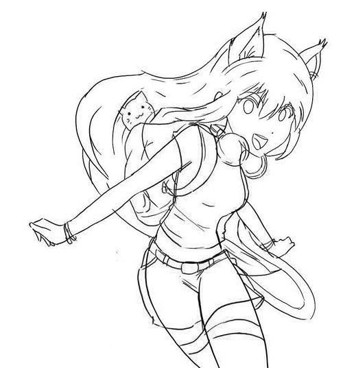 Рисунки аниме кошки карандашом
