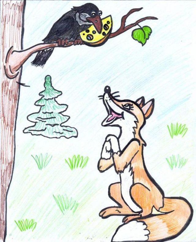 Ворона и лиса басня с картинки