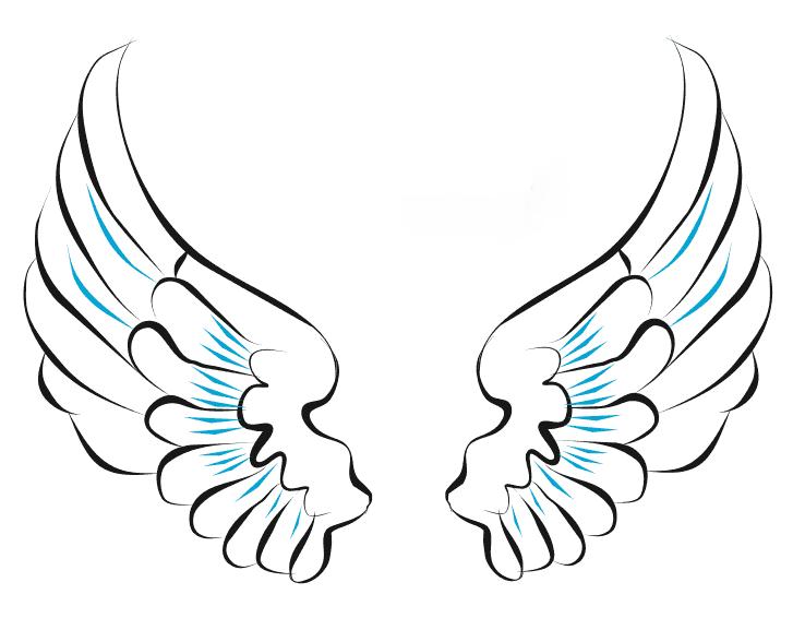 Картинки крыльев для срисовки легкие