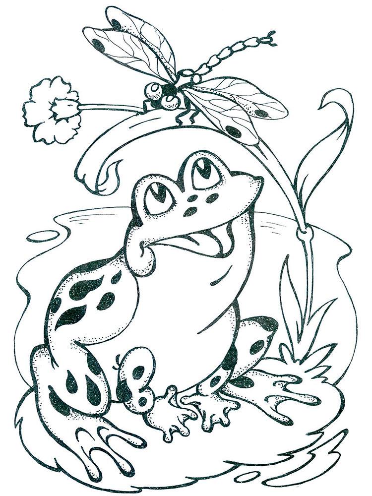 рисунок лягушонка распечатать она