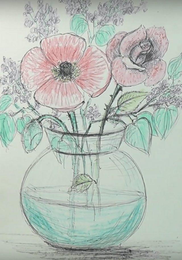 картинки натюрморт карандашом цветы сложная, требует определенных