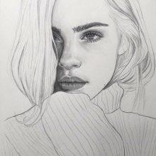 Черно-белые рисунки девушек карандашом (32 фото)