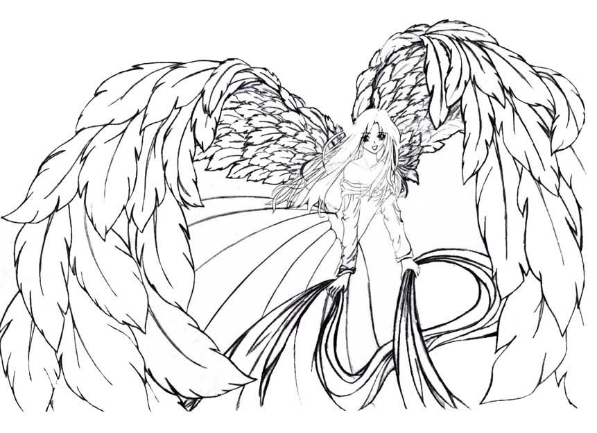 Картинки ангелов аниме девушек карандашом