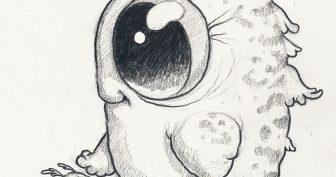 Рисунки животных с большими глазами (27 фото)