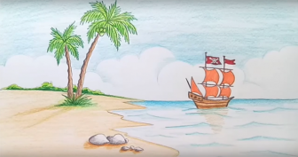 Рисунки пляжа и моря карандашом (34 фото)