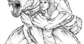 Рисунки карандашом волк и девушка (26 фото)