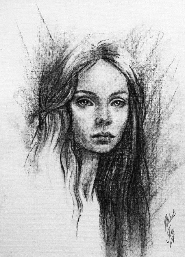 Рисунок углем портрет капли, стекая