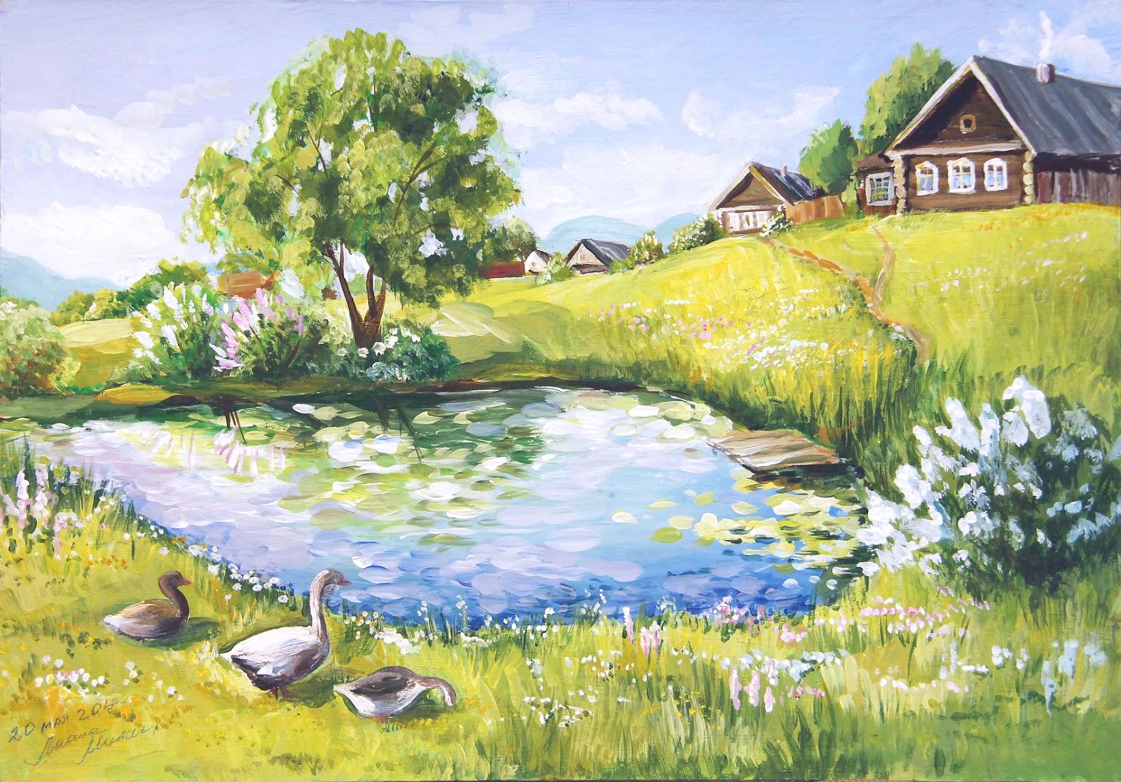 фотки, картинки лето в деревне карандашом насыщенный, придает торжественную