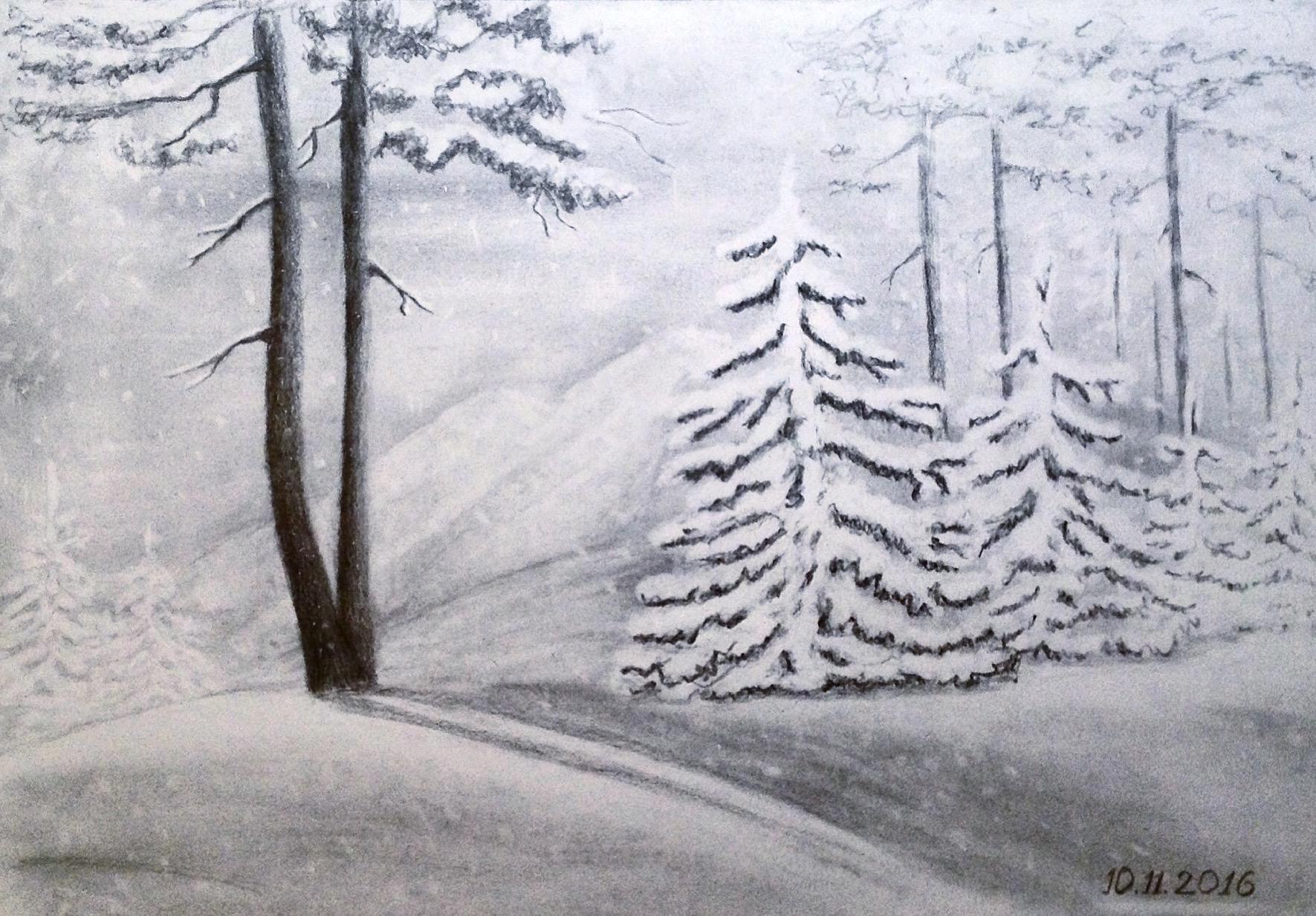 Картинки нарисованные карандашом зима