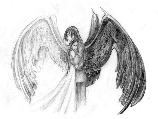 картинки рисование карандашом ангелы том, что анастасия