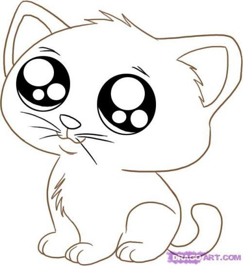 Рисунки для срисовки котики аниме (27 фото) 🔥 Прикольные ...