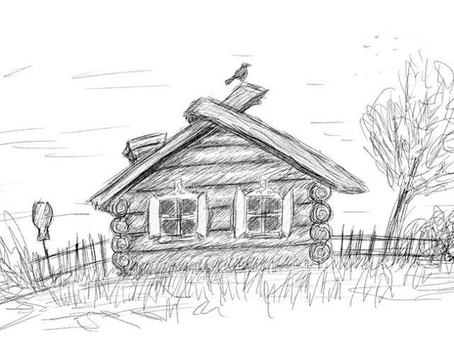 Деревня рисунок карандашом легкий