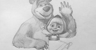 Рисунки для срисовки Маша и Медведь (30 фото)