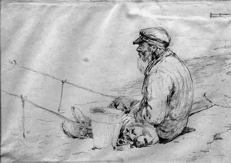 Картинки карандашом рыбака