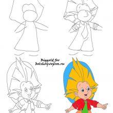 Рисунки для детей карандашом Незнайка (29 фото)